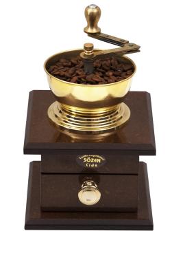 SOZEN WOODEN BOX COFFEE GRINDER MILL - BROWN